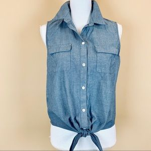 Ann Taylor chambray sleeveless tie cropped shirt